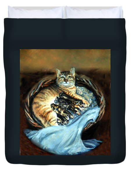 Duvet Cover featuring the painting Mom With Her Kittens by Donna Tucker