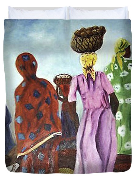 Duvet Cover featuring the painting Mombasa Market by Sher Nasser