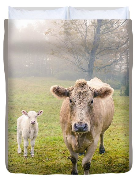 Momma And Baby Cow Duvet Cover
