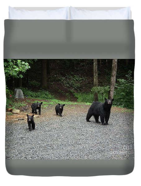 Duvet Cover featuring the photograph Momma And Three Bears by Jan Dappen