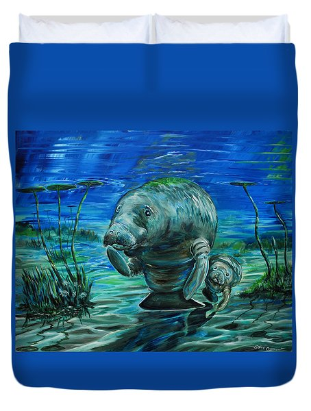 Momma Manatee Duvet Cover