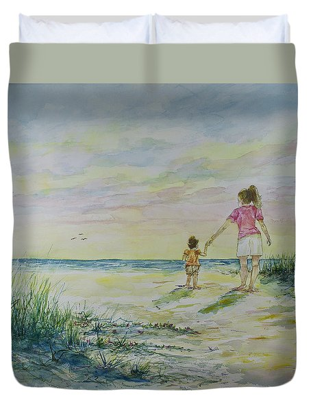 Mommy And Me At The Beach Duvet Cover