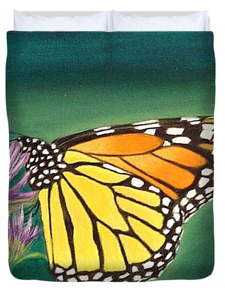 Duvet Cover featuring the painting Monarch And Liatris by Fran Brooks