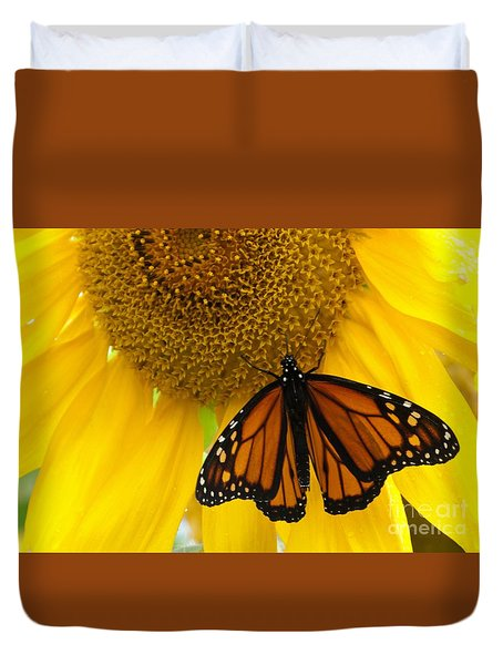 Monarch And Sunflower Duvet Cover by Ann Horn