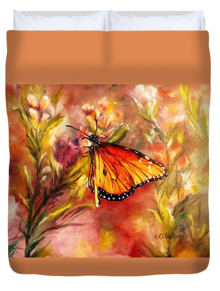 Duvet Cover featuring the painting Monarch Beauty by Karen Kennedy Chatham