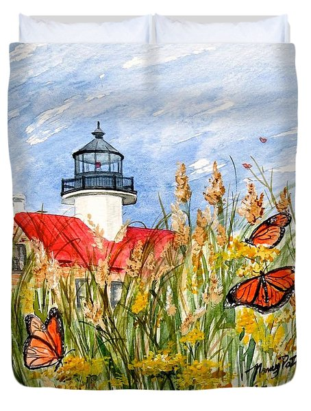 Monarch Butterflies At East Point Light Duvet Cover