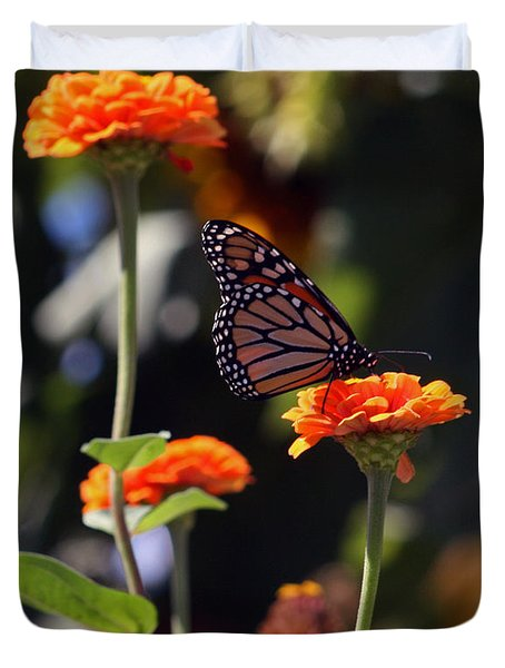 Monarch Butterfly And Orange Zinnias Duvet Cover by Kay Novy