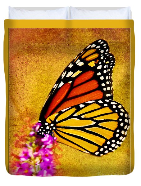 Monarch Butterfly Color Splash Sunset Duvet Cover