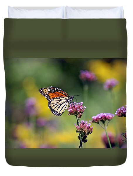 Monarch Butterfly In Field On Verbena Duvet Cover by Karen Adams