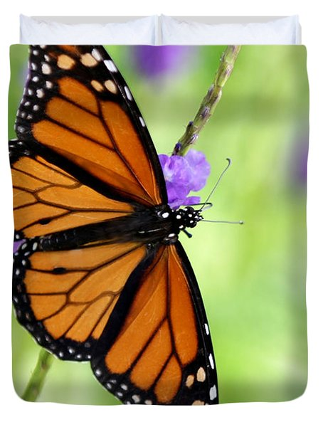 Monarch Butterfly In Spring Duvet Cover