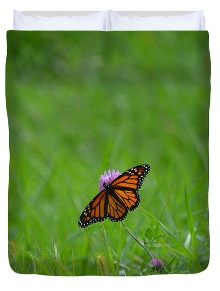 Duvet Cover featuring the photograph Monarch Butterfly by James Petersen