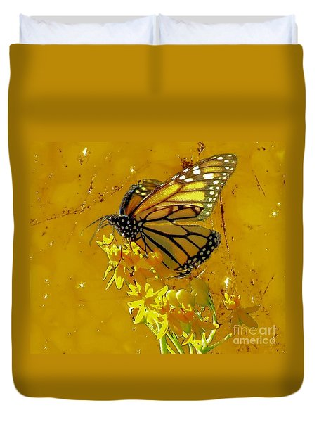 Duvet Cover featuring the photograph Monarch On Gold by Janette Boyd