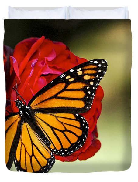Monarch On Rose Duvet Cover