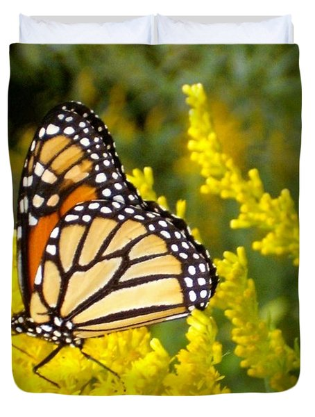 Duvet Cover featuring the photograph Monarch by Sara  Raber