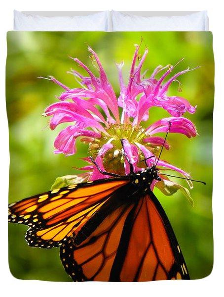 Monarch Under Flower Duvet Cover