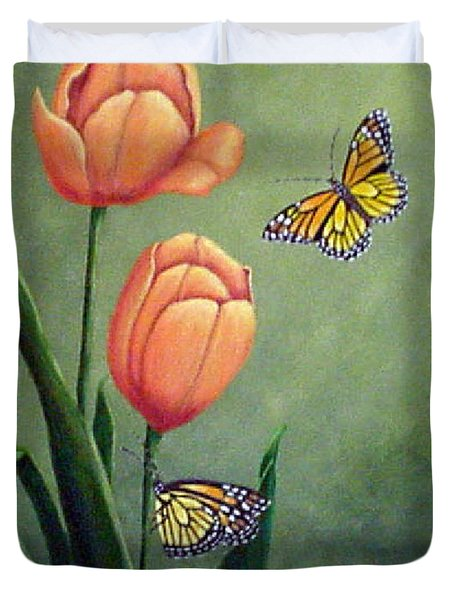 Monarchs And Golden Tulips Duvet Cover