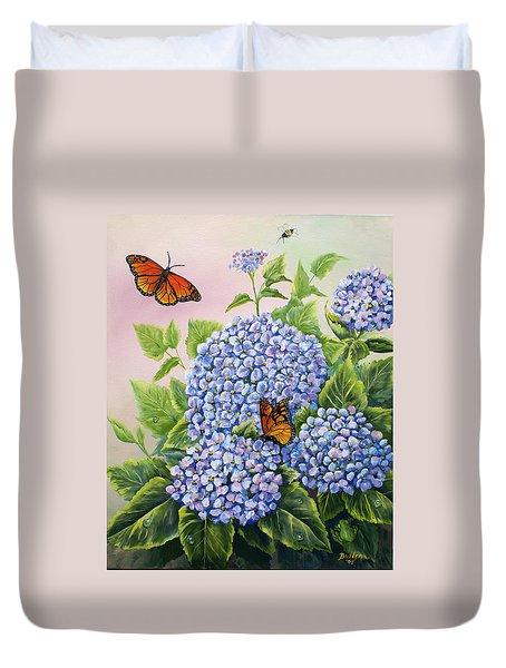 Monarchs And Hydrangeas Duvet Cover by Gail Butler