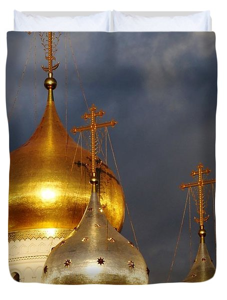 Duvet Cover featuring the photograph Monastery by Julia Ivanovna Willhite
