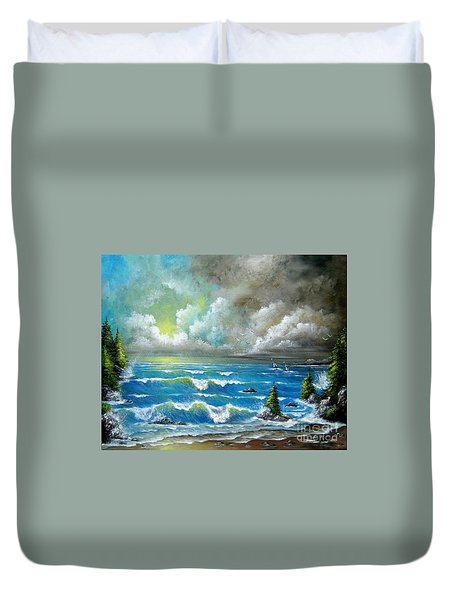 Duvet Cover featuring the painting Sail At My Side by Patrice Torrillo