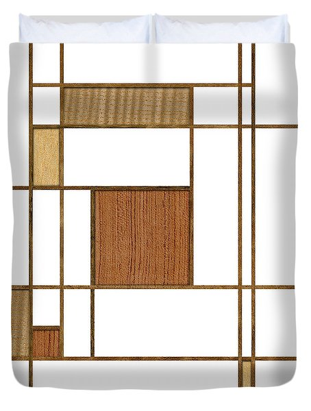 Mondrian In Wood Duvet Cover by Yo Pedro