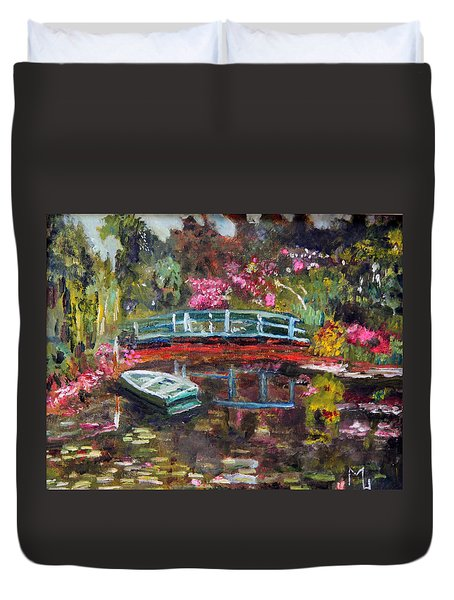 Monet's Green Boat In His Garden Duvet Cover