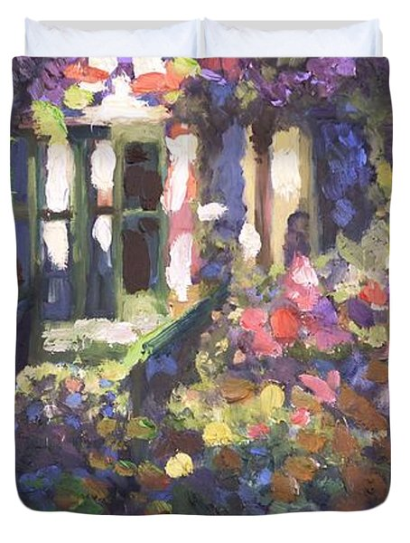 Monet's Home In Giverny Duvet Cover by Donna Tuten