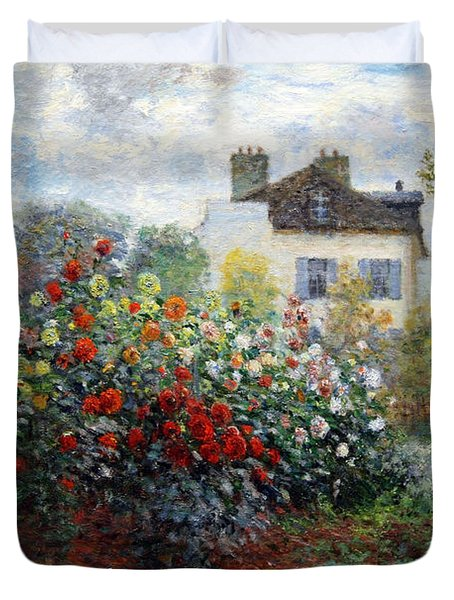 Duvet Cover featuring the photograph Monet's The Artist's Garden In Argenteuil  -- A Corner Of The Garden With Dahlias by Cora Wandel