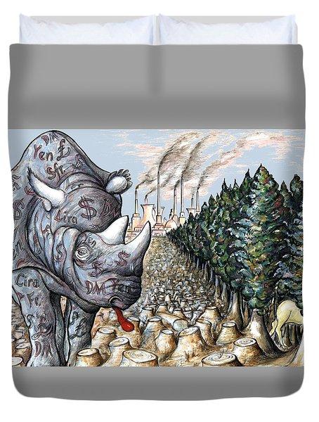 Donald Trump - Money Against Environment - Political Cartoon Duvet Cover