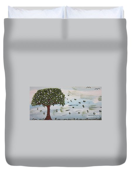 Duvet Cover featuring the painting  The Money Tree by Jeffrey Koss