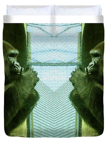 Monkey See Monkey Do Duvet Cover by Nina Silver