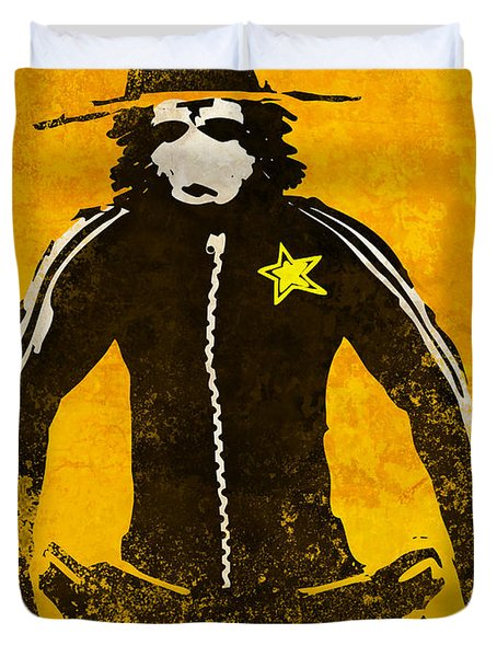 Monkey Sheriff Duvet Cover by Pixel Chimp