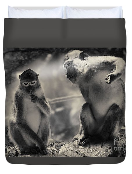 Duvet Cover featuring the photograph Monkeys In Freedom by Christine Sponchia