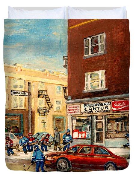 Monkland Street Hockey Game Montreal Urban Scene Duvet Cover by Carole Spandau