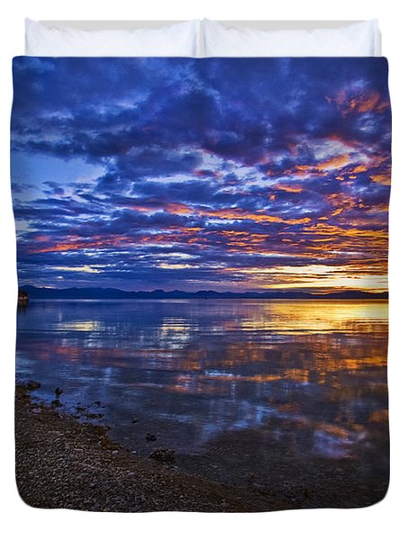 Mono Lake Sunrise Duvet Cover by Priscilla Burgers