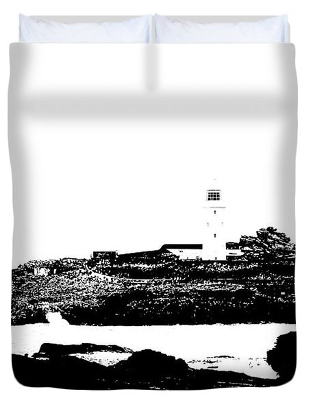 Monochromatic Godrevy Island And Lighthouse Duvet Cover by Terri Waters