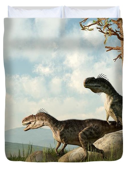 Monolophosaurs On The Hunt Duvet Cover