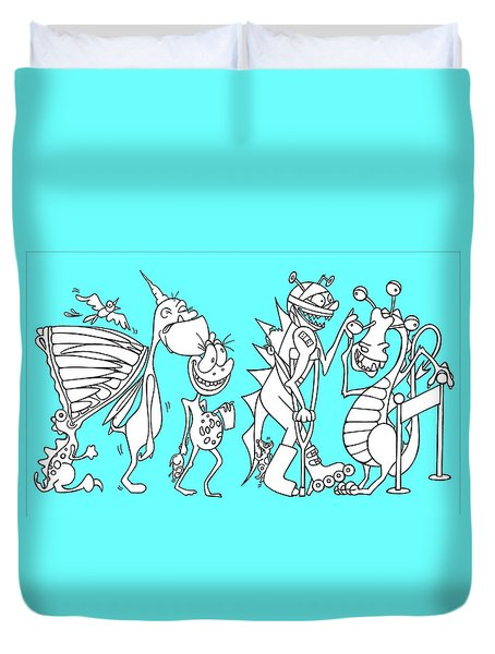 Monster Queue Blue Duvet Cover
