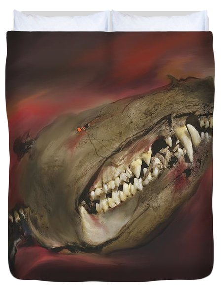 Duvet Cover featuring the photograph Monster Skull by MM Anderson