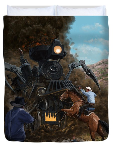Monster Train Attacking Cowboys Duvet Cover