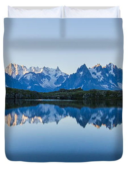 Mont Blanc Massif Panorama Duvet Cover by Mircea Costina Photography