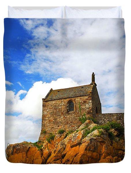 Mont Saint Michel Abbey Fragment Duvet Cover by Elena Elisseeva