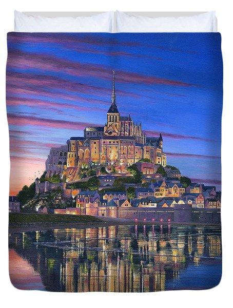Mont Saint-michel Soir Duvet Cover