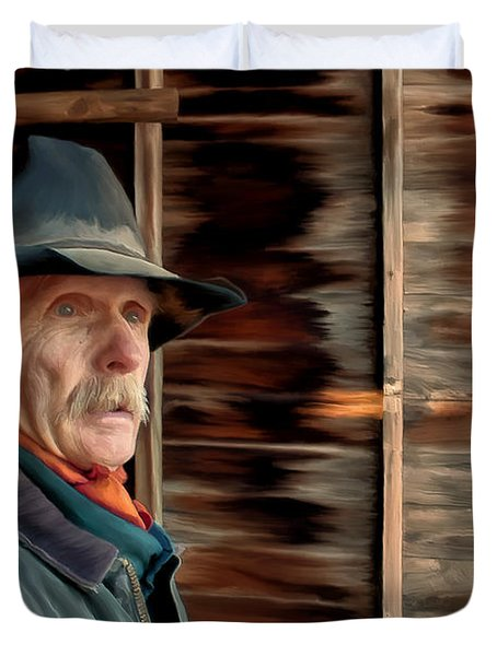 Duvet Cover featuring the painting Montana Cowboy by Michael Pickett