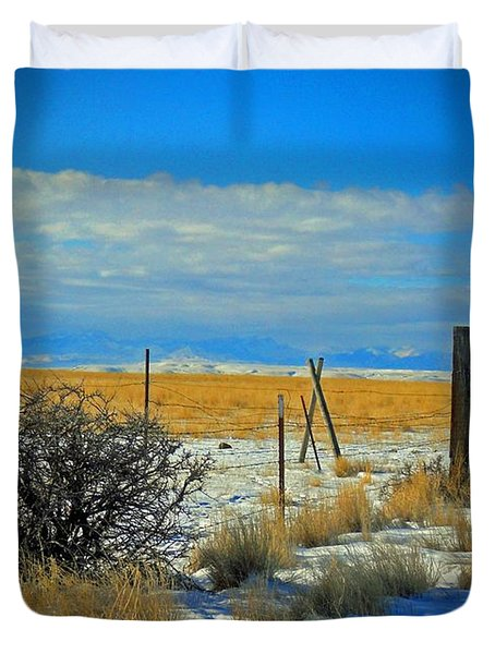Montana Fencerow Duvet Cover by Desiree Paquette