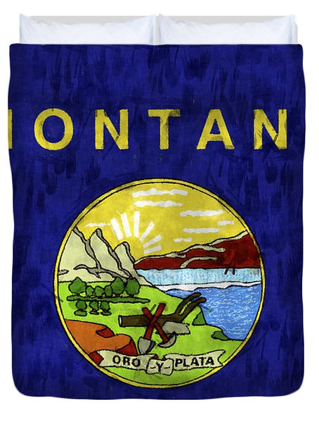 Montana Flag Duvet Cover by World Art Prints And Designs