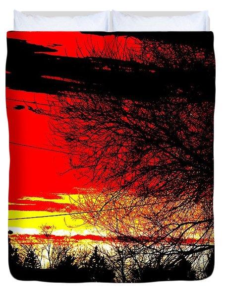 Duvet Cover featuring the digital art Montana January Sunset by Aliceann Carlton