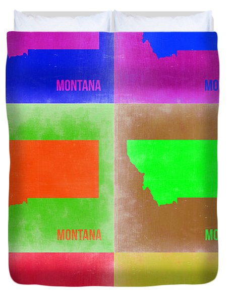 Montana Pop Art Map 2 Duvet Cover by Naxart Studio