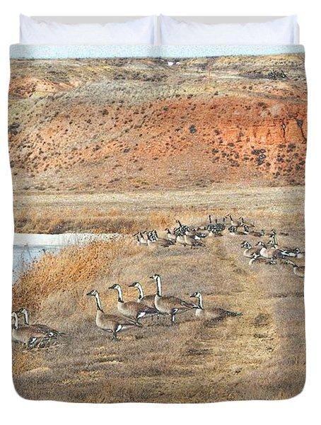Duvet Cover featuring the digital art Montana Spring Thaw by Aliceann Carlton