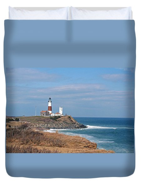Duvet Cover featuring the photograph Montauk Lighthouse/camp Hero by Karen Silvestri