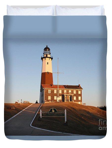 Montauk Lighthouse Entrance Duvet Cover by John Telfer